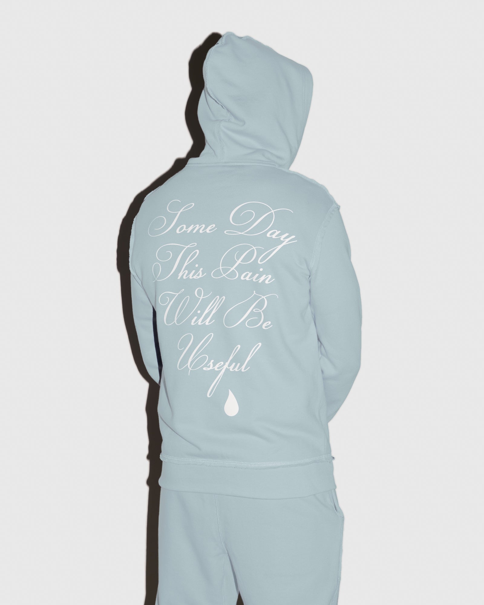 RAW EDGE FRENCH TERRY ZIP HOODIE - BABY BLUE IMAGE #3