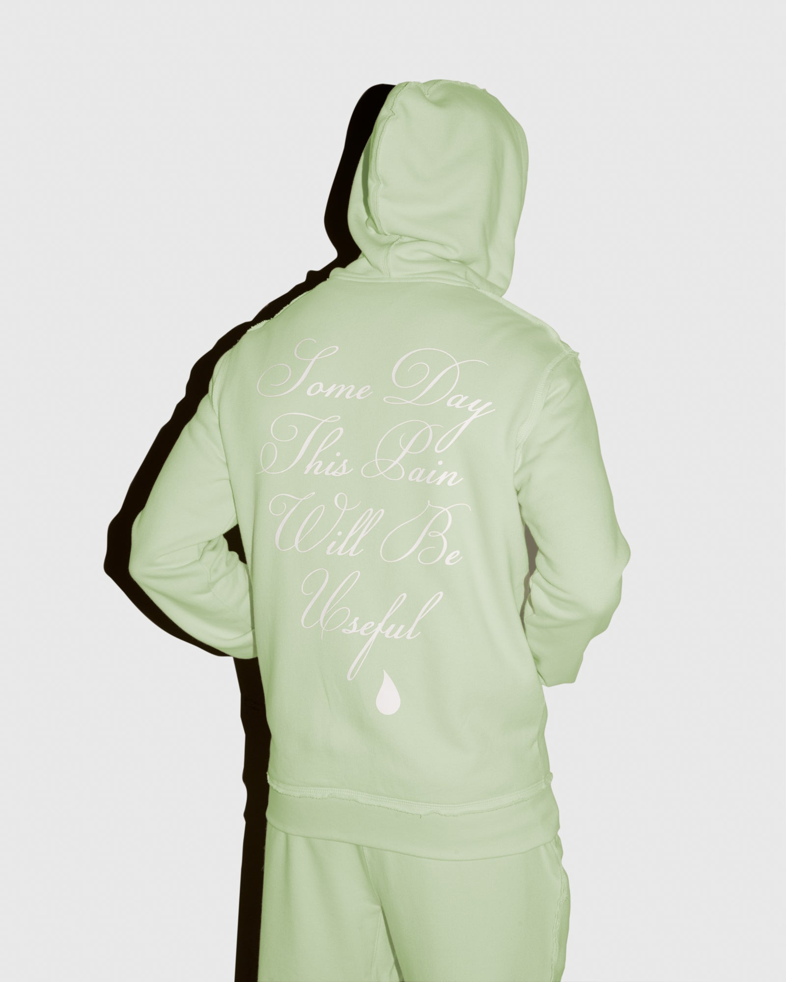 RAW EDGE FRENCH TERRY ZIP HOODIE - MINT IMAGE #4