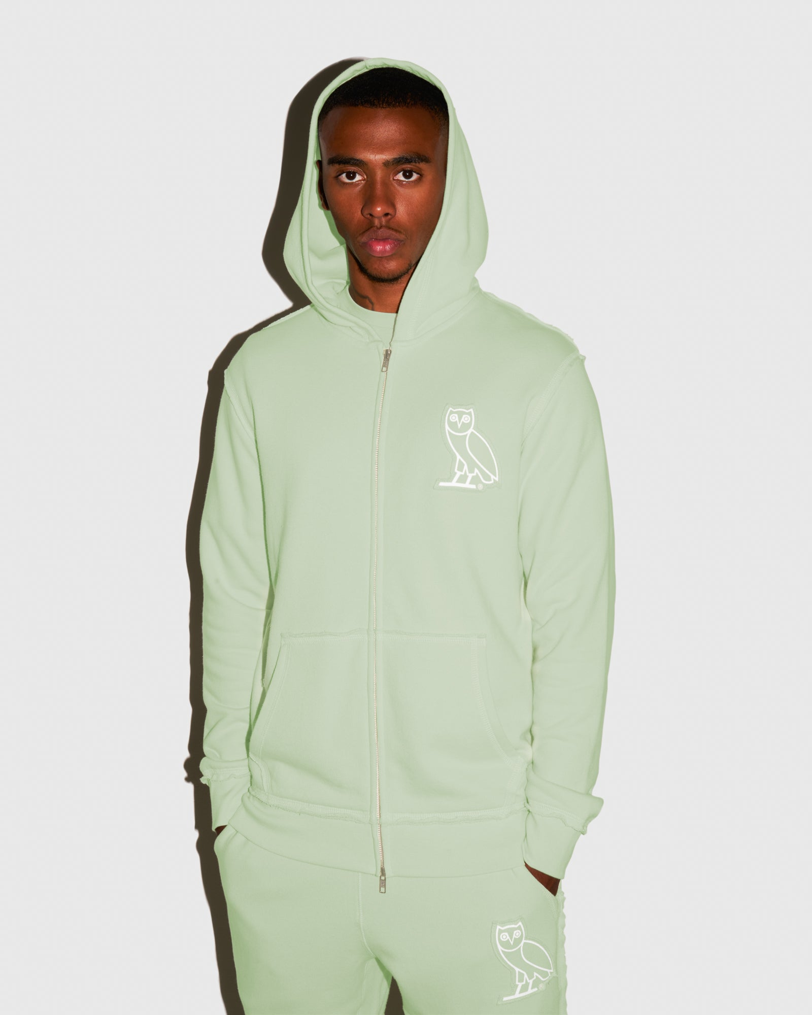 RAW EDGE FRENCH TERRY ZIP HOODIE - MINT IMAGE #3