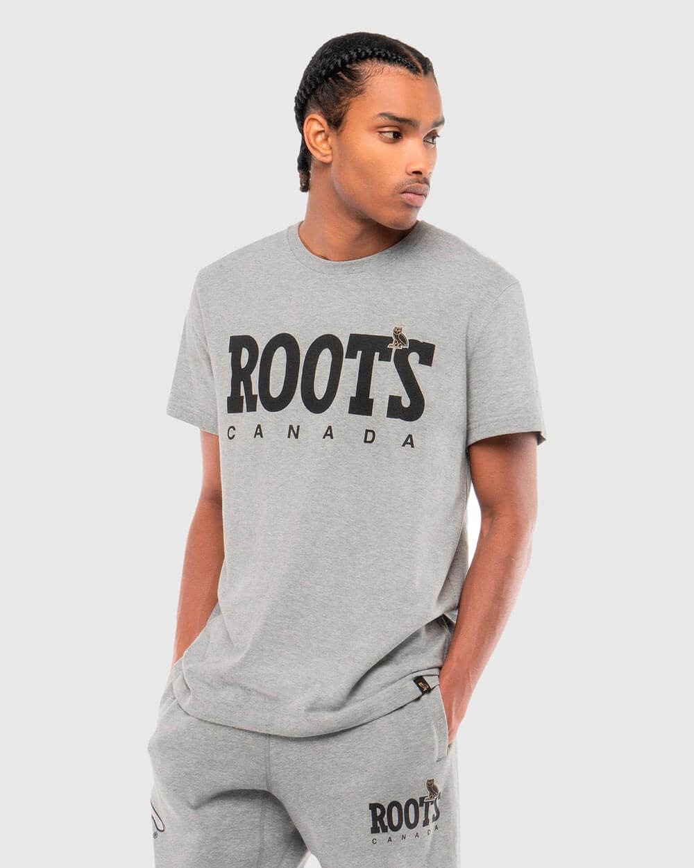 OVO x ROOTS T-SHIRT - HEATHER GREY