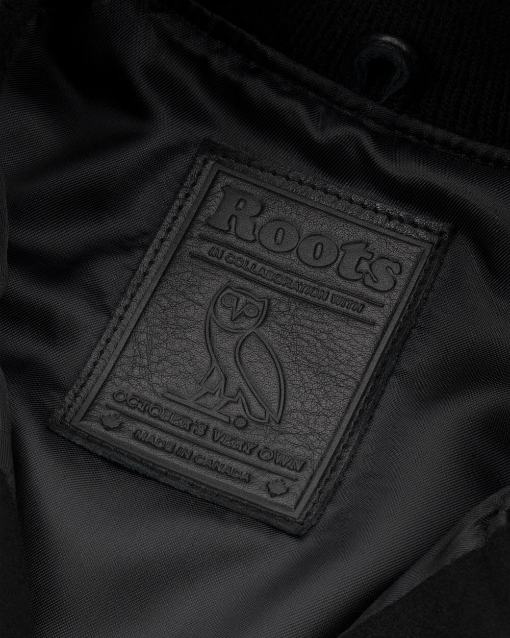 OVO x ROOTS CALGARY VARSITY JACKET - BLACK