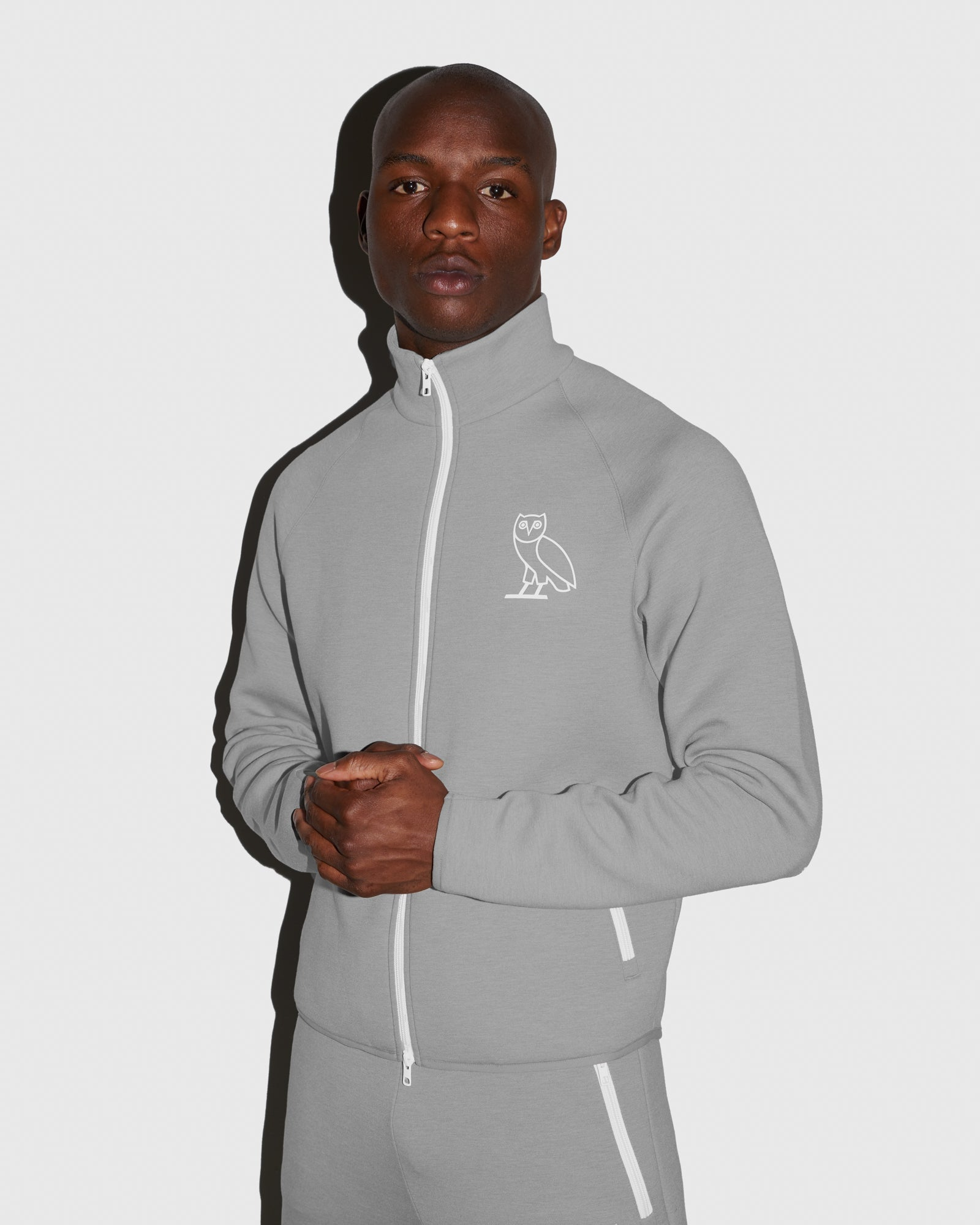 OVO INTERLOCK JACKET - HEATHER GREY IMAGE #2