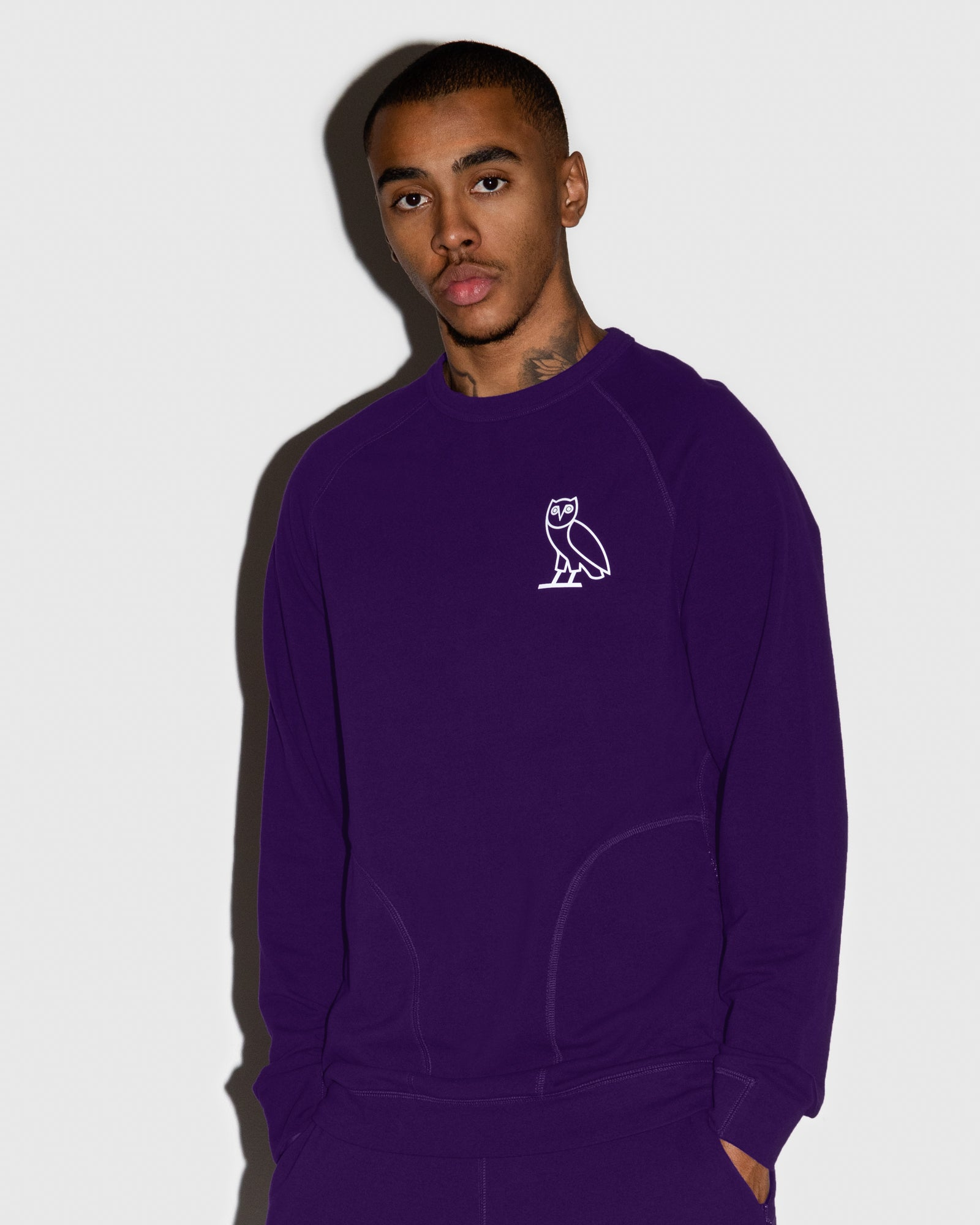 OVO LIGHTWEIGHT FRENCH TERRY CREWNECK - PURPLE IMAGE #2