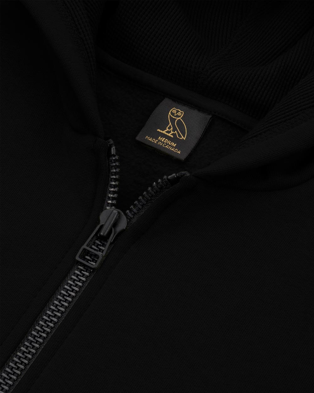 OVO THERMAL ZIP HOODIE - BLACK