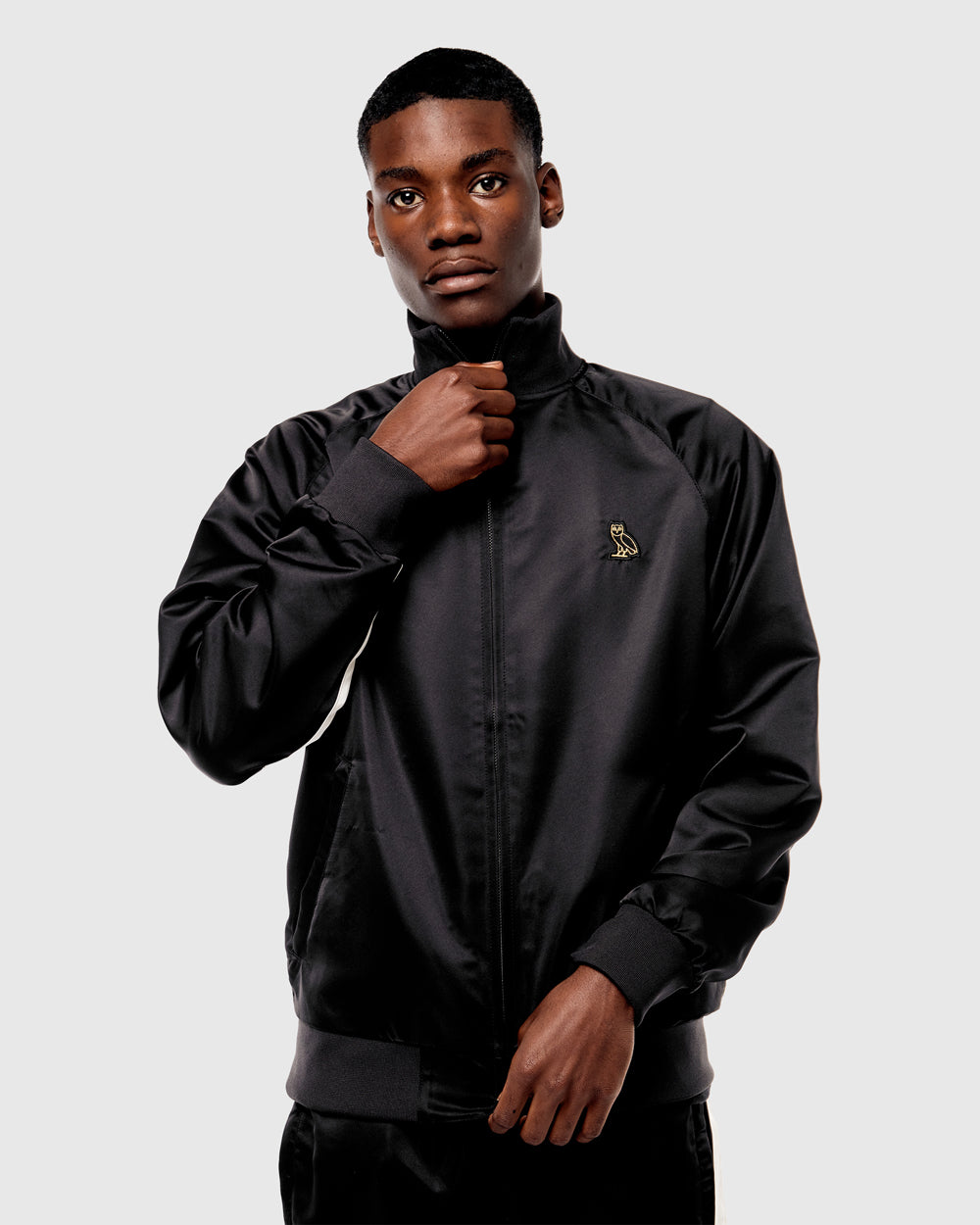 OVO SATIN BOMBER JACKET - BLACK