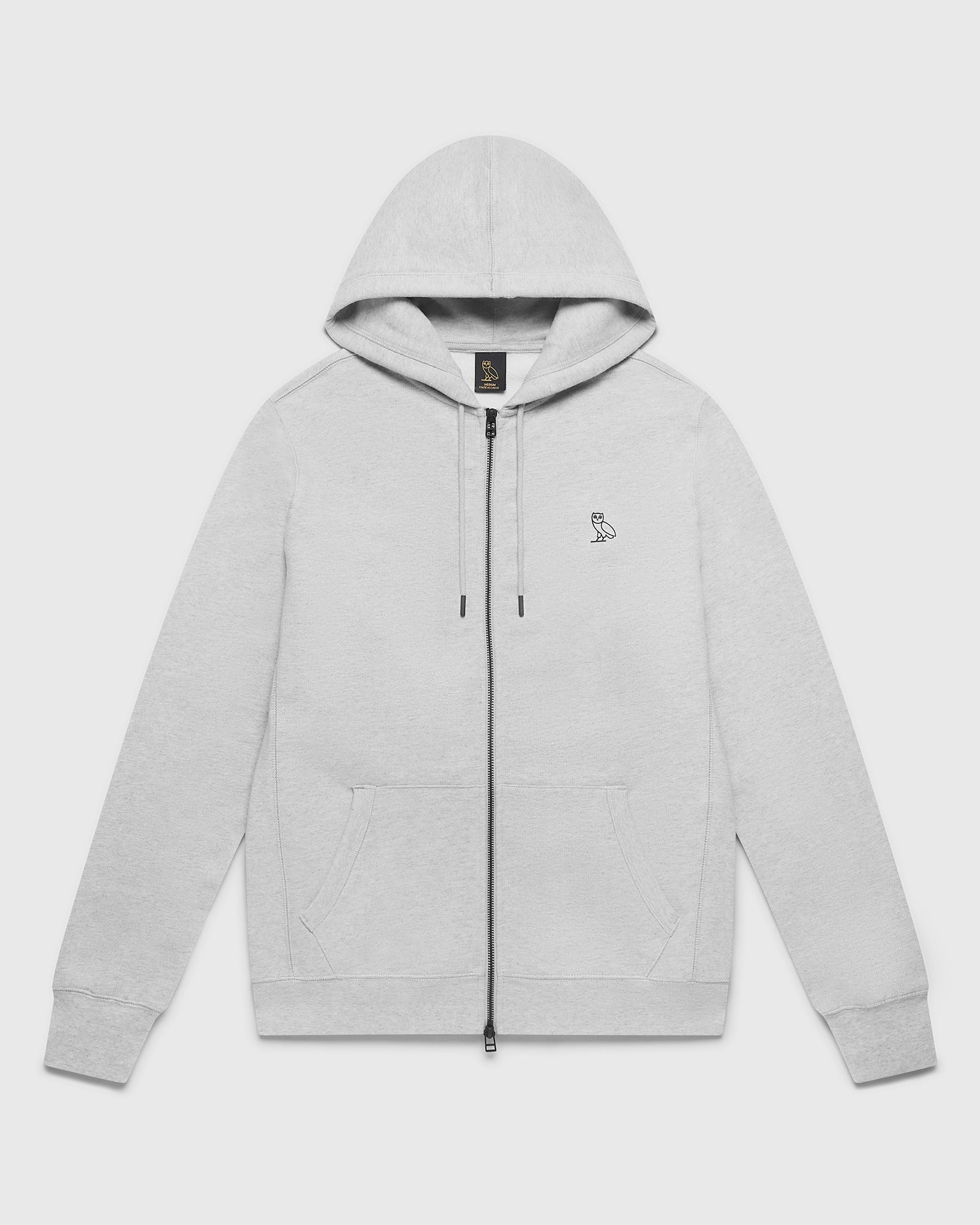 OVO ESSENTIALS ZIP HOODIE - HEATHER GREY IMAGE #1