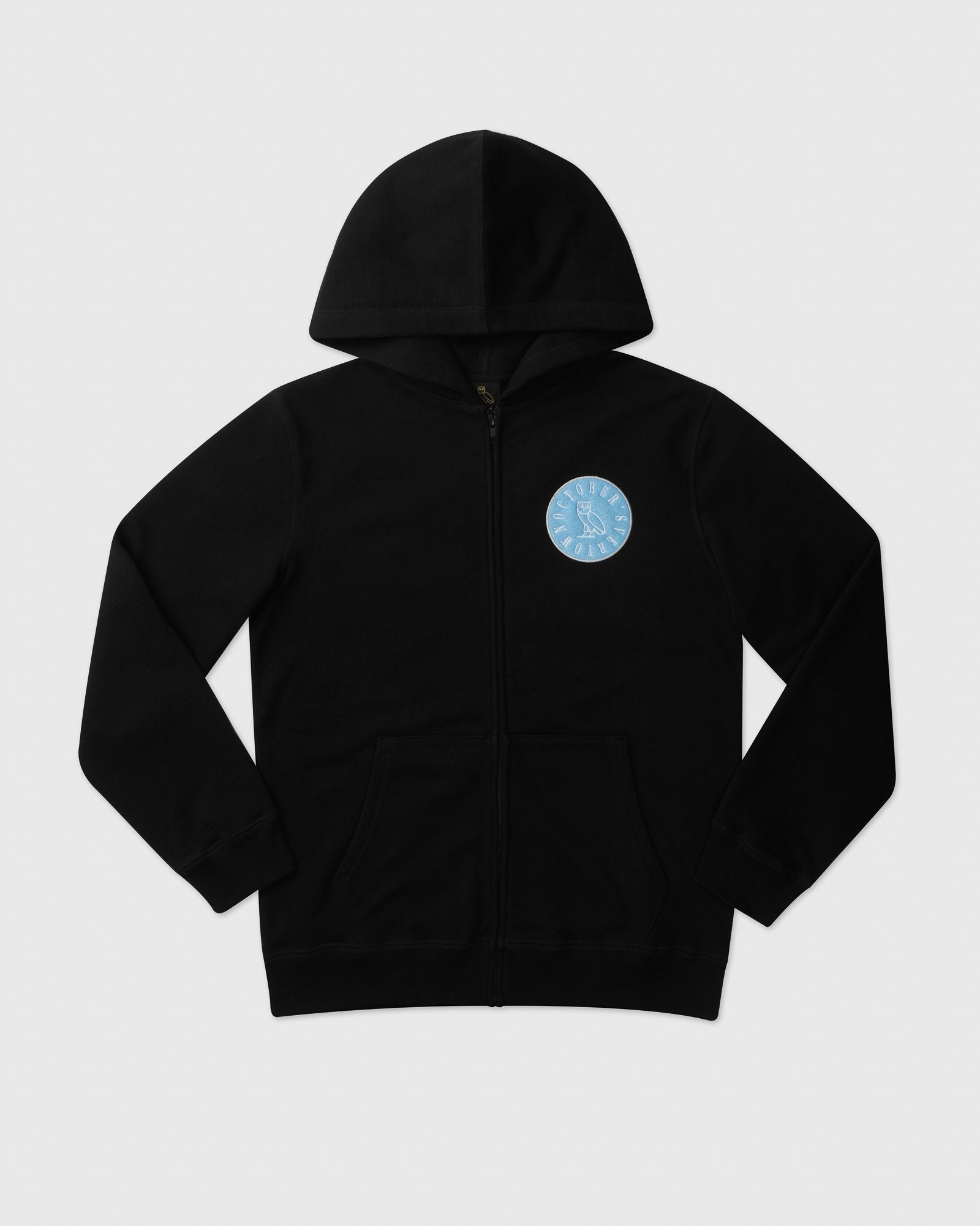 CIRCLE WORDMARK PATCH FULL-ZIP HOODIE - BLACK IMAGE #1