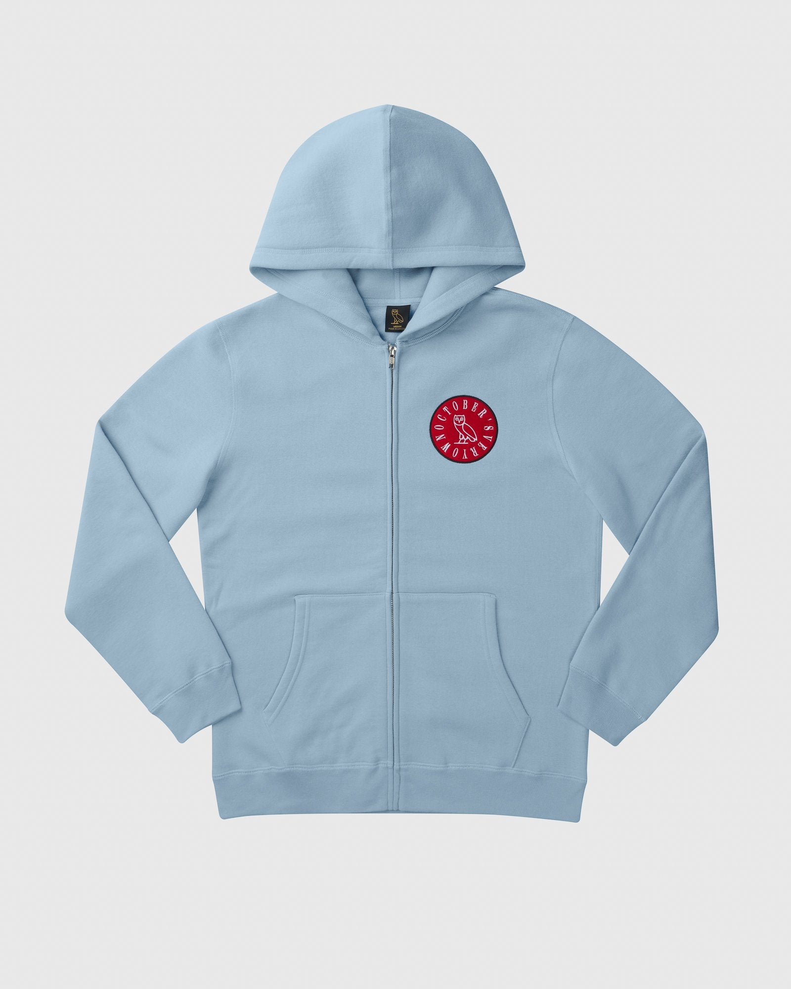 CIRCLE WORDMARK PATCH FULL-ZIP HOODIE - SKY BLUE IMAGE #1