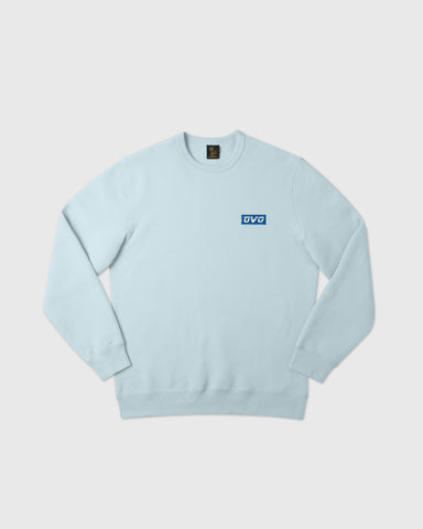 EMBROIDERED RUNNER LOGO CREWNECK - DUSTY BLUE