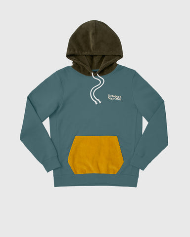 FAMILIA COLOUR BLOCK CORD HOODIE - STEELE BLUE
