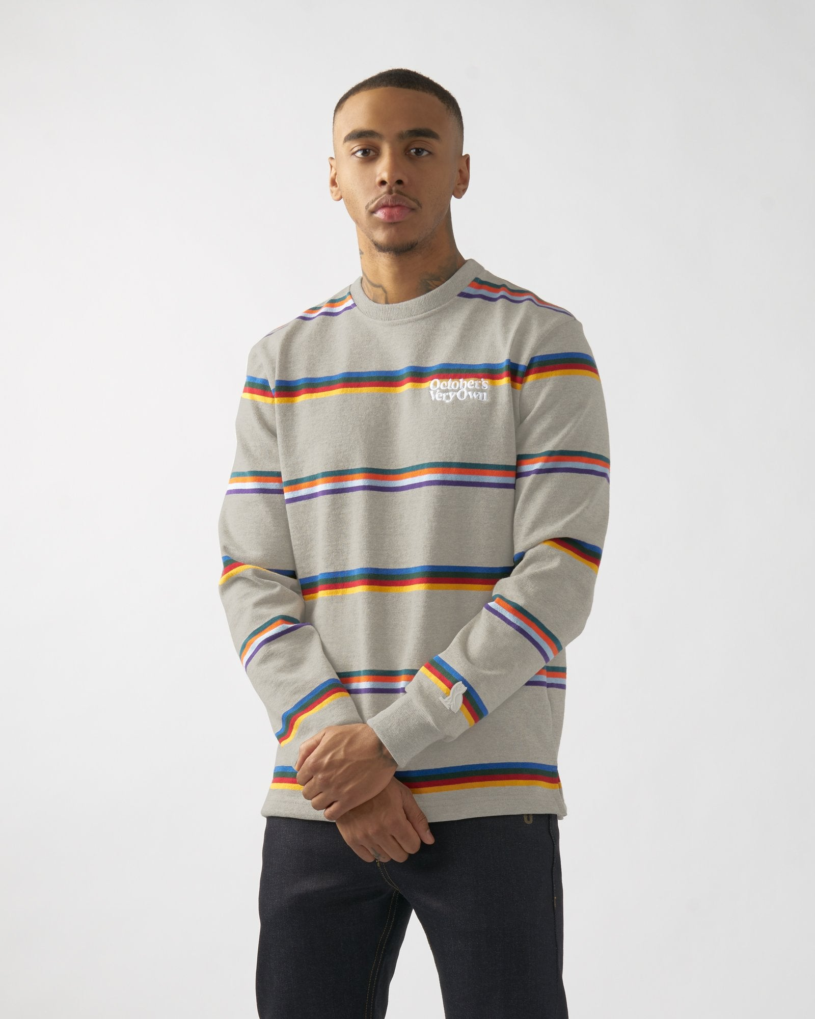 FAMILIA STRIPED CREWNECK - HEATHER GREY IMAGE #2