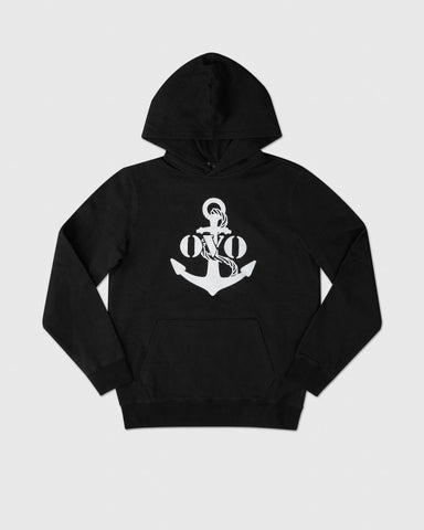 NAUTICAL INDIGO FLEECE HOODIE - BLACK