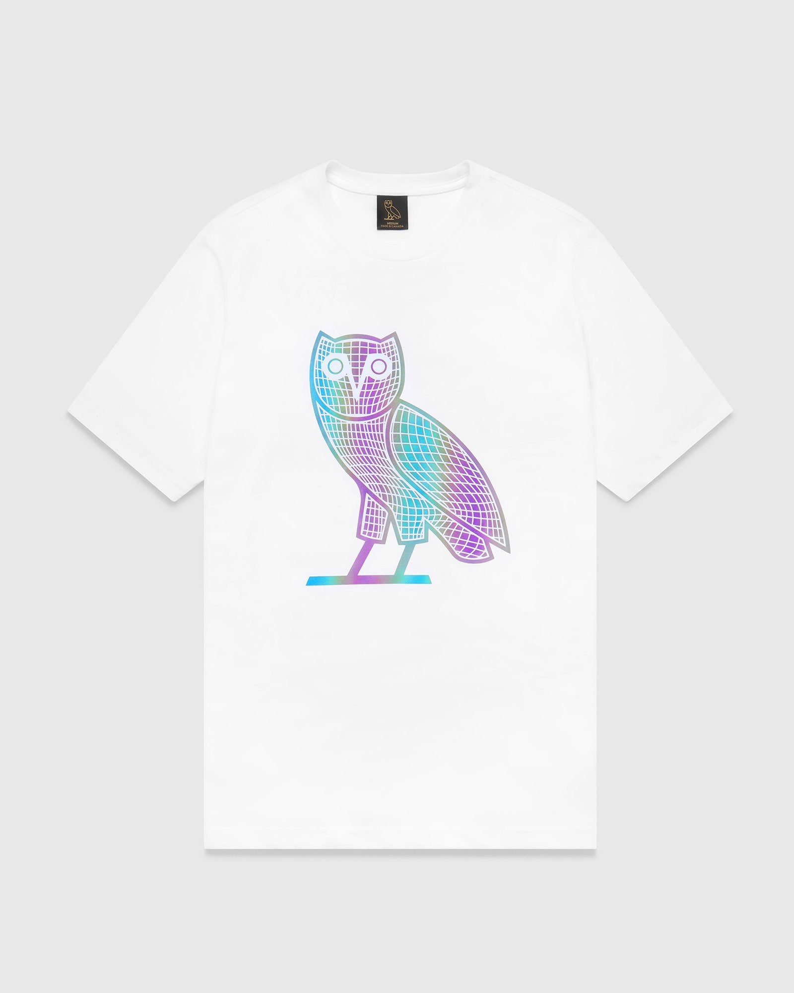 IRIDESCENT GRID OWL T-SHIRT - WHITE IMAGE #1