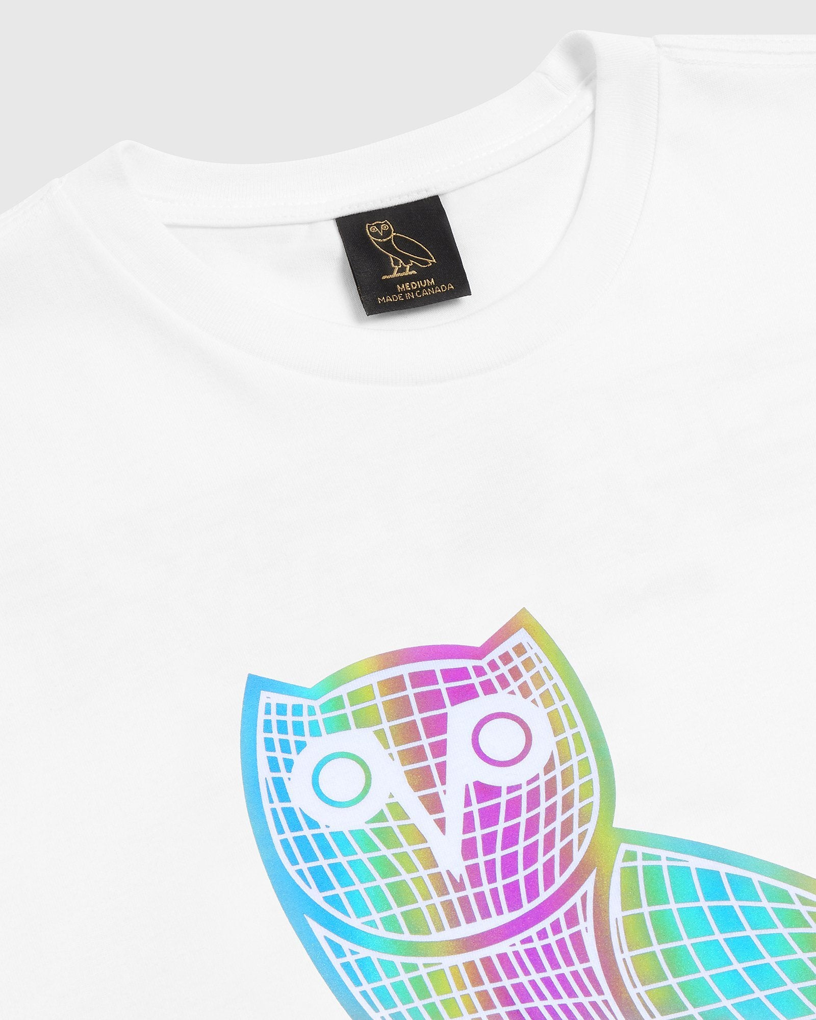 IRIDESCENT GRID OWL T-SHIRT - WHITE IMAGE #3