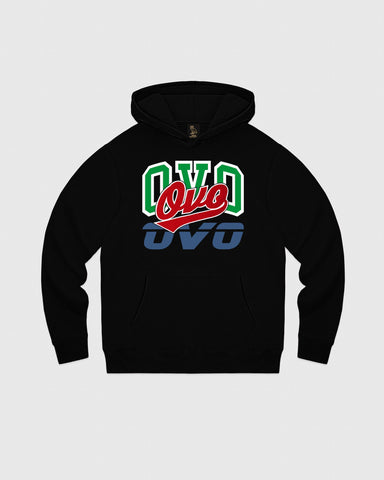 ATHLETIC COLLAGE HOODIE - BLACK