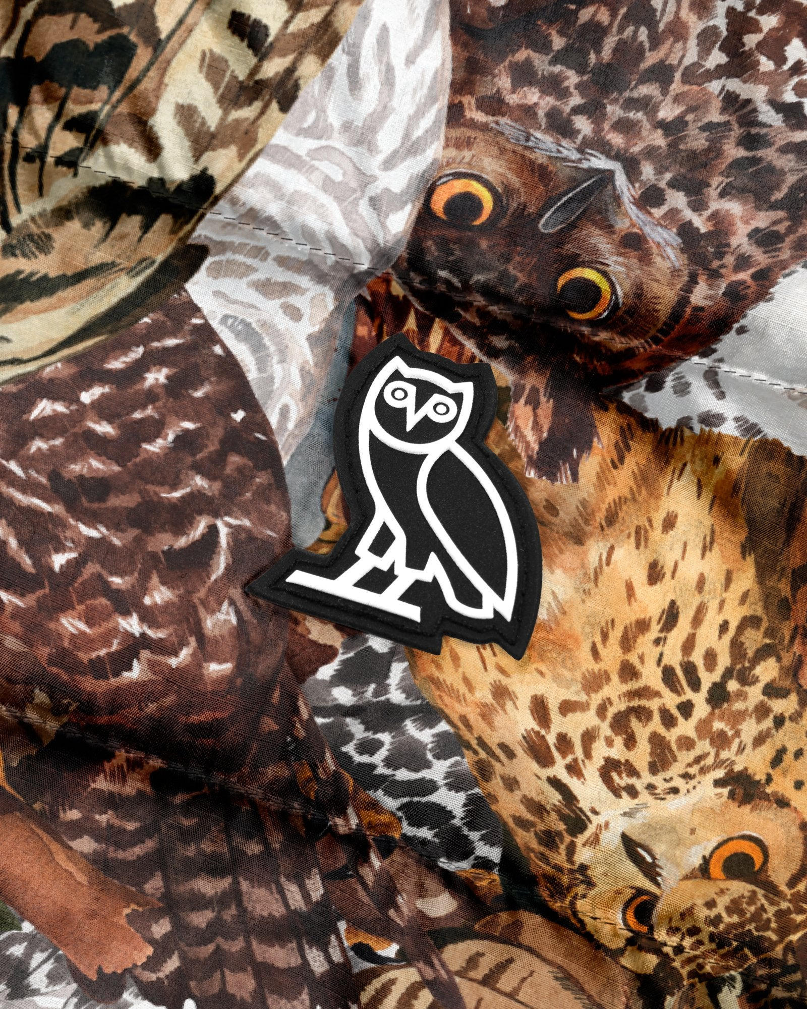 HOODED PUFFER JACKET - OWL PRINT IMAGE #3