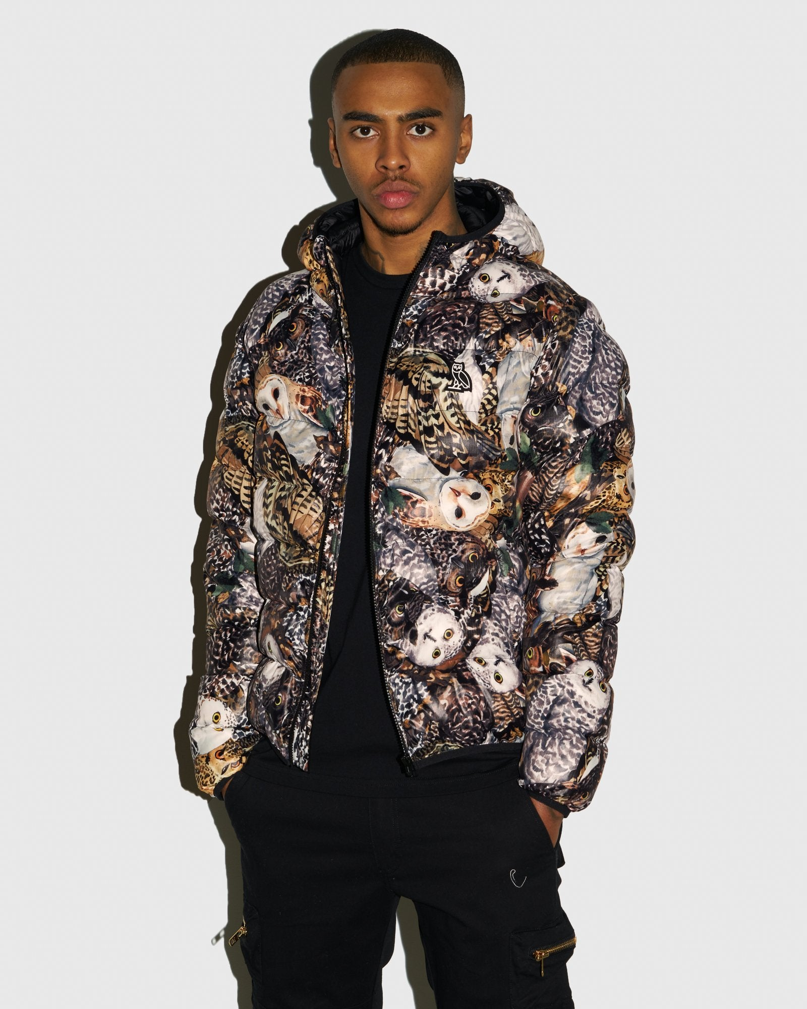 HOODED PUFFER JACKET - OWL PRINT IMAGE #2