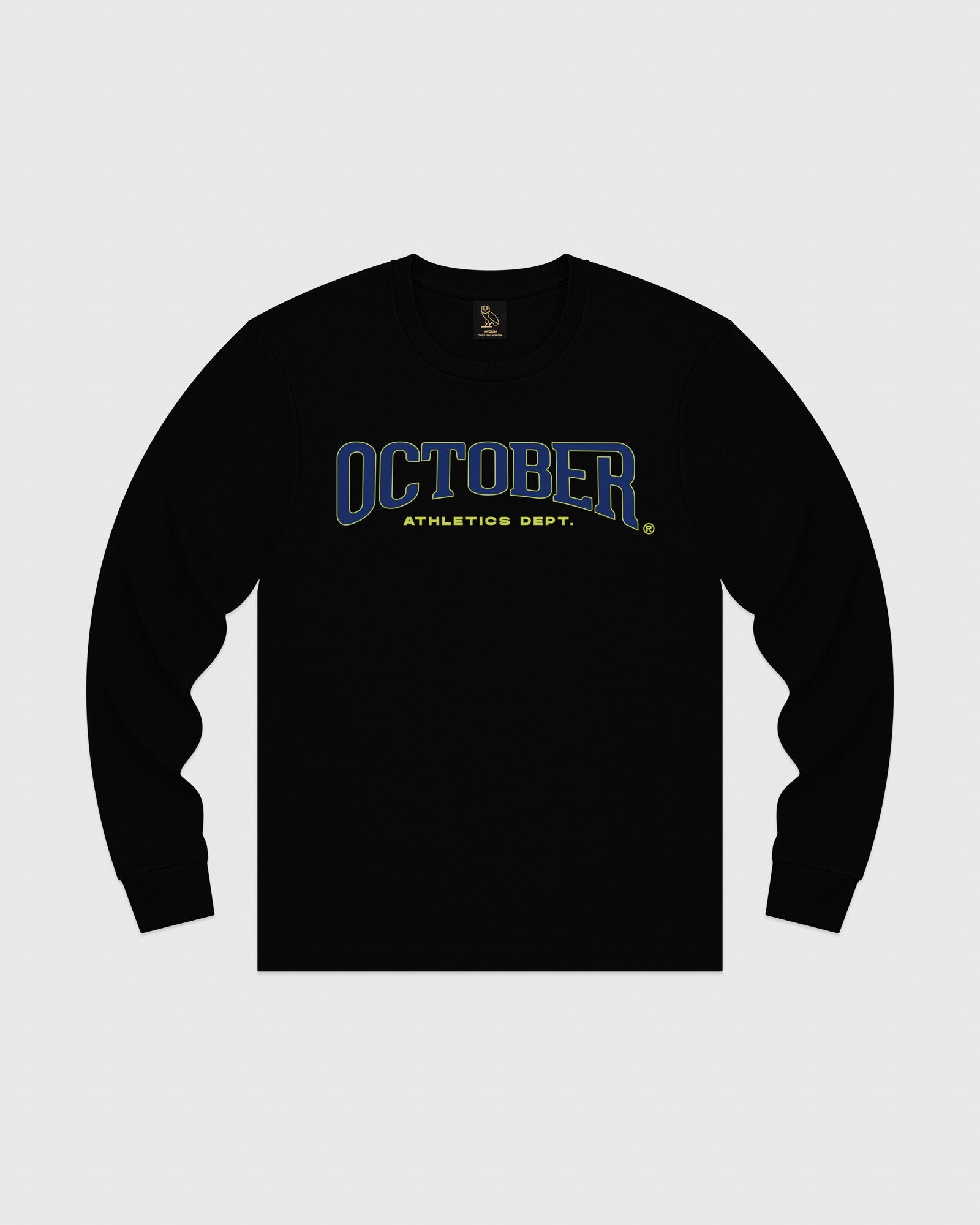 OCTOBER ATHLETICS LONGSLEEVE T-SHIRT - BLACK IMAGE #1