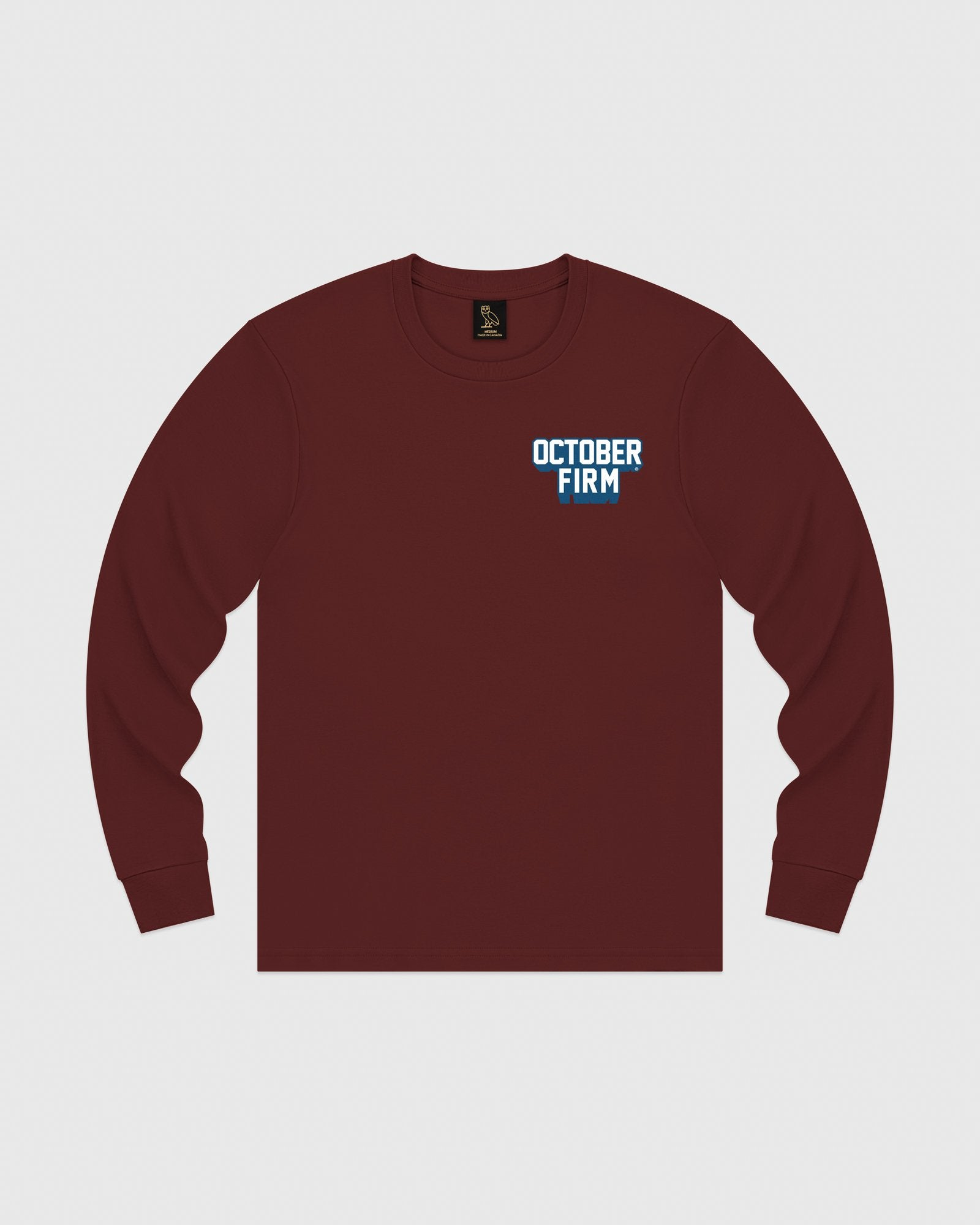 OCTOBER FIRM SHADOW LONGSLEEVE T-SHIRT - BURGUNDY IMAGE #1