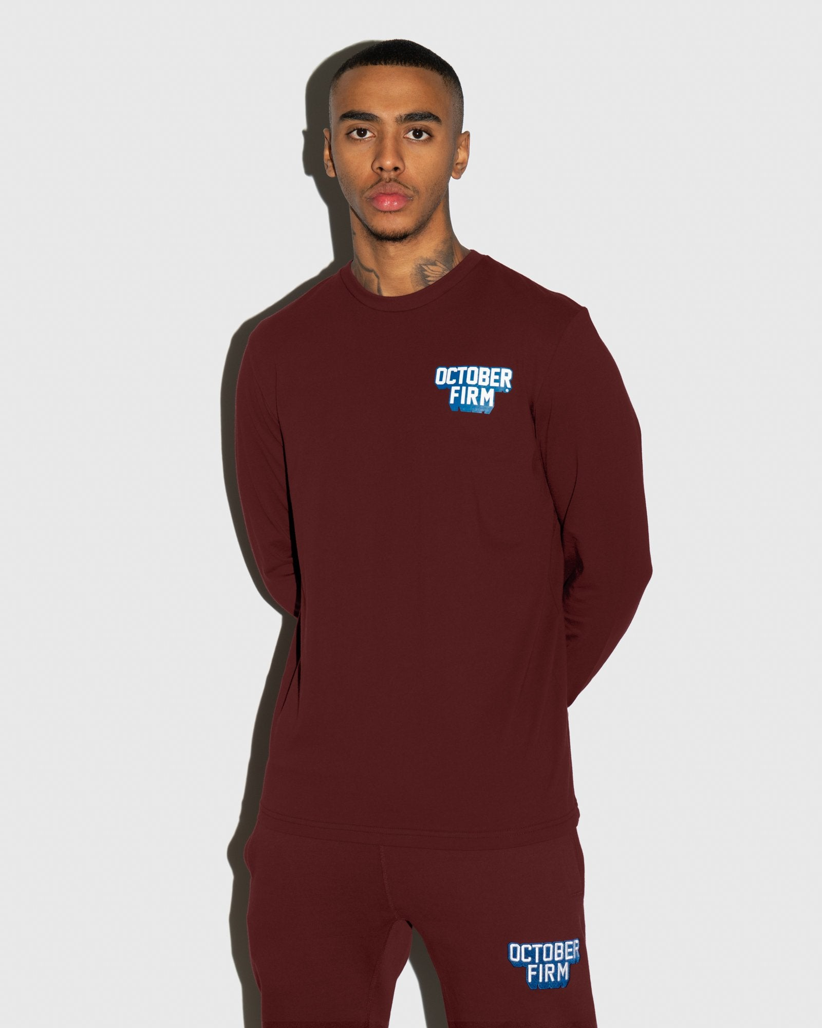OCTOBER FIRM SHADOW LONGSLEEVE T-SHIRT - BURGUNDY IMAGE #2