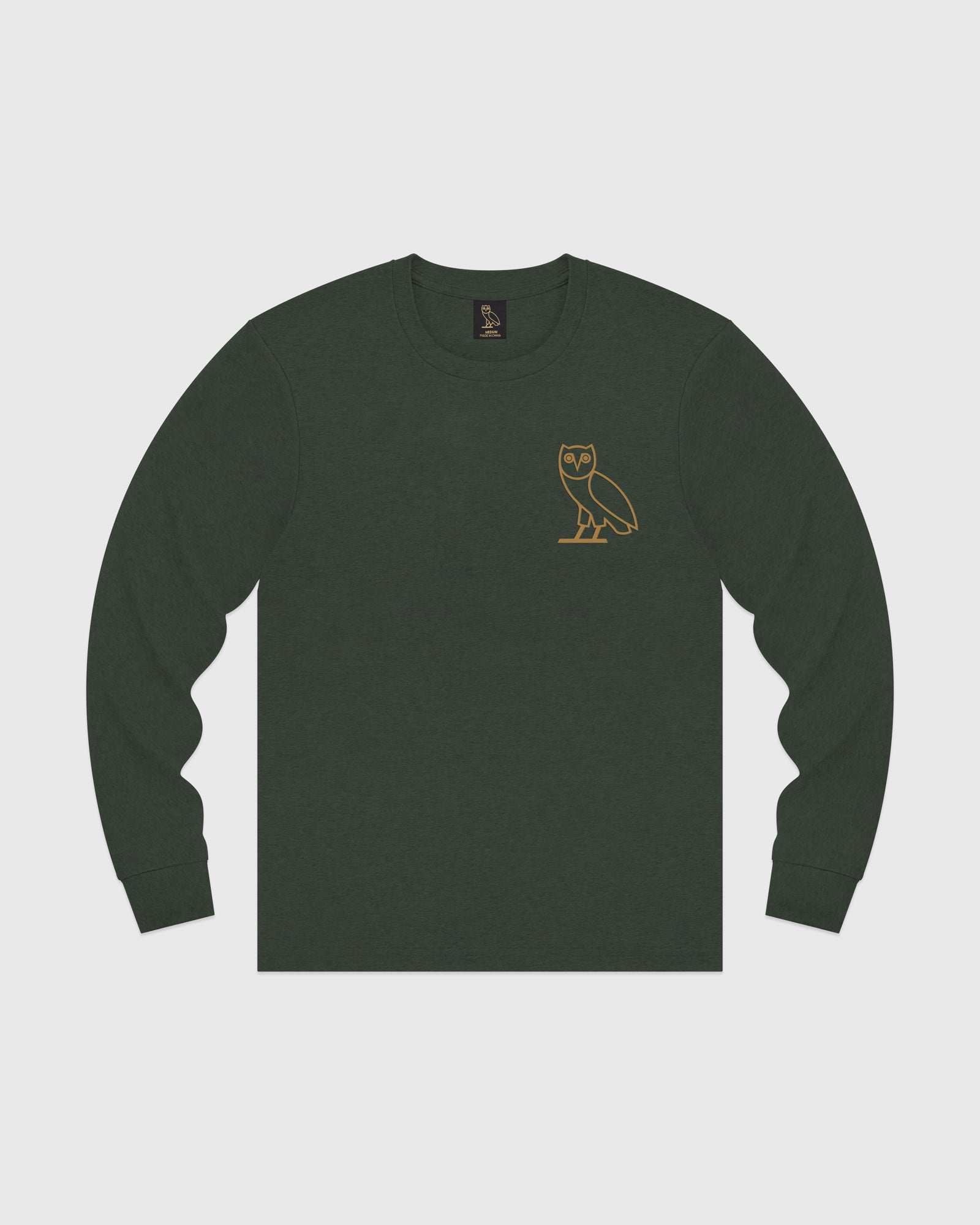 OWL LONGSLEEVE T-SHIRT - HEATHER GREEN IMAGE #1