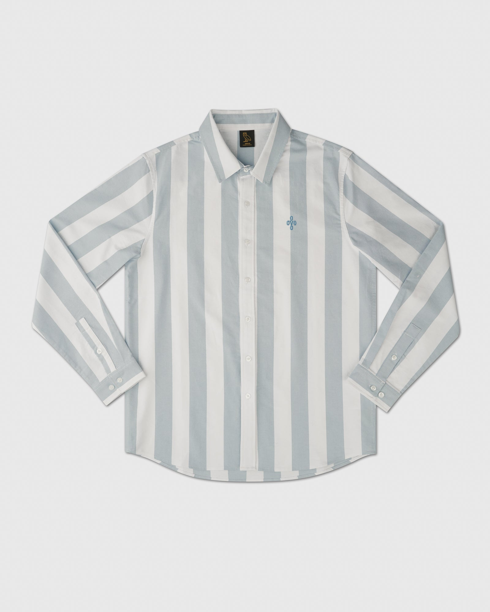 STRIPED OXFORD SHIRT - DUSTY BLUE IMAGE #1