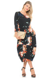 Cocoon Midi Dress With Pocket Floral Print