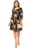 Print Swing Dress Pockets in Plus Size