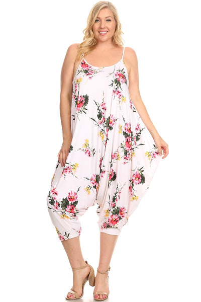 Strappy Harem Jumpsuit in Plus Size Floral