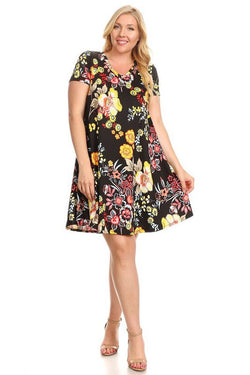 Short Sleeve Trapeze Tunic Dress Floral