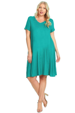 Short Sleeve Trapeze Tunic Dress