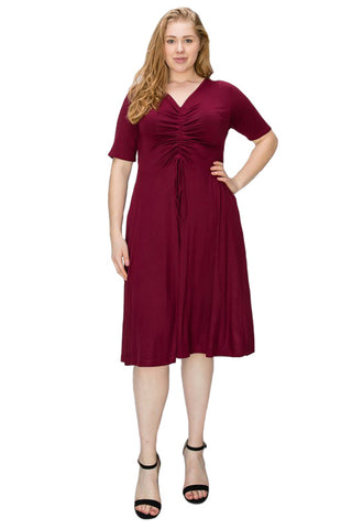 Ruched Midi Dress in Plus Size Solid