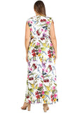 Floral Sleeveless Dress in Plus Size