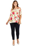 Floral Cold Shoulder Top in Plus Size