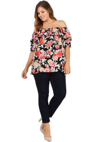 Ruffled Off-Shoulder Top in Plus Size Floral