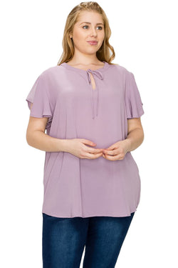 Flutter Sleeve Blouse in Plus Size