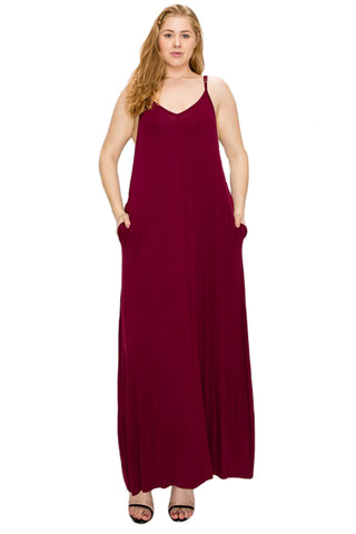 Spaghetti Strap Maxi Dress in Plus Size