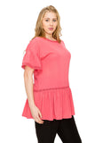Ruffle Sleeve Tunic Top in Plus Size