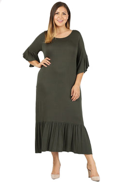 Ruffled Hem Maxi Dress in Plus Size