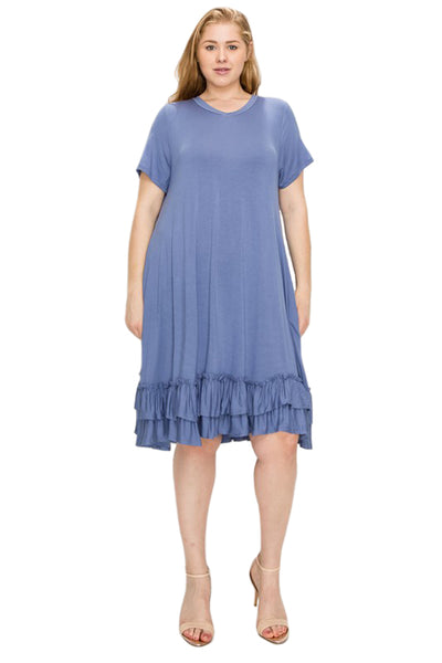 Ruffled Hem Midi Dress in Plus Size