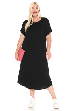 Dolman Sleeve Midi Dress in Plus Size