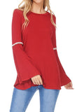 Bell Sleeve Top with Crochet Trim Detail Small