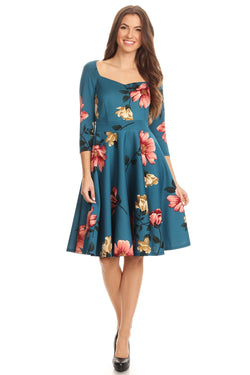 Fit and Flare Dress with Sweetheart Neckline in Solid and Floral