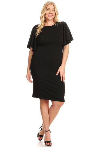 Ruffle Sleeve Bodycon Midi Dress in Plus