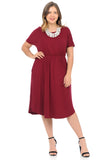 Midi Dress with Pockets and Elastic Waist in Plus Size