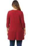 A-Line Tunic Top with Mao Collar Plus Size