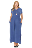 Short Sleeve Maxi Dress with Pockets in Plus Size
