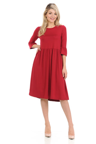 Babydoll Midi Dress with Ruffle Sleeve and Side Pockets