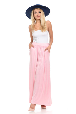 5c7a2ccef4ef Maxi Skirt with Elastic Waistband and Pockets – Pastel by Vivienne