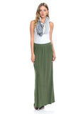 Maxi Skirt with Elastic Waistband and Pockets